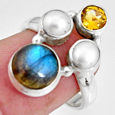 925 silver 7.82cts natural blue labradorite citrine pearl ring size 6.5 p90632