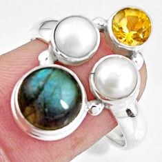 925 silver 8.40cts natural blue labradorite citrine pearl ring size 7.5 p90640