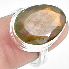 925 silver 13.41cts natural blue labradorite fancy solitaire ring size 7 p71369