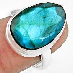 925 silver 13.71cts natural blue labradorite fancy solitaire ring size 8 p79014