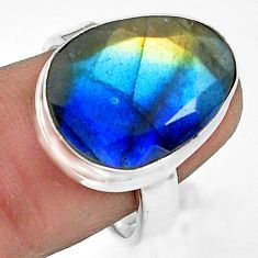 925 silver 12.83cts natural blue labradorite fancy solitaire ring size 8 p79018