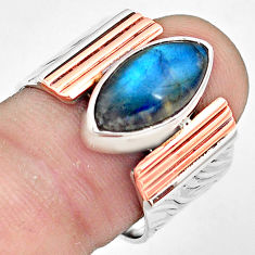 925 silver 6.67cts natural blue labradorite gold solitaire ring size 8 p81013