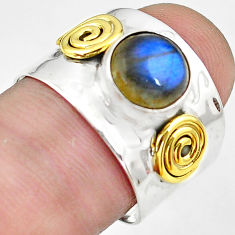 925 silver 3.65cts natural blue labradorite gold solitaire ring size 8 p81075