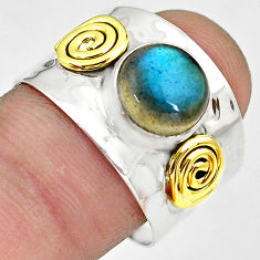 925 silver 3.51cts natural blue labradorite gold solitaire ring size 9 p81076