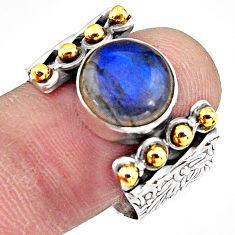 925 silver 5.81cts natural blue labradorite gold solitaire ring size 9 p91175