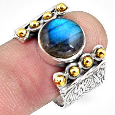 925 silver 5.98cts natural blue labradorite gold solitaire ring size 8.5 p91178