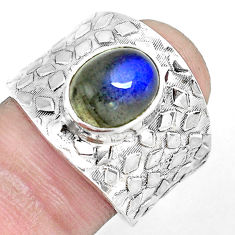 925 silver 4.22cts natural blue labradorite oval solitaire ring size 8.5 p51018