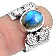925 silver 4.38cts natural blue labradorite oval solitaire ring size 7.5 p77180