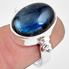 925 silver 9.65cts natural blue labradorite oval solitaire ring size 6.5 p86724