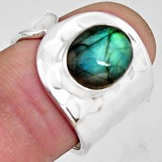 925 silver 4.51cts natural blue labradorite oval solitaire ring size 6.5 p89464
