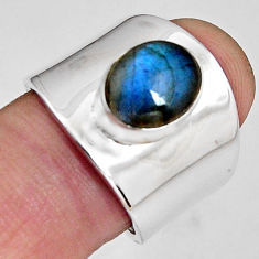 925 silver 4.66cts natural blue labradorite oval solitaire ring size 7.5 p89473