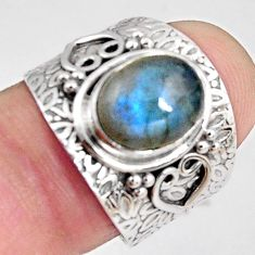 925 silver 4.55cts natural blue labradorite oval solitaire ring size 7.5 p89499