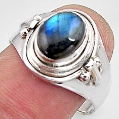 925 silver 3.36cts natural blue labradorite oval solitaire ring size 8.5 p90964