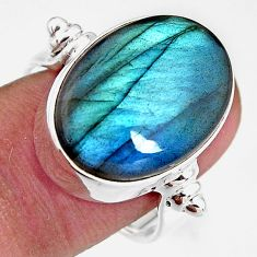 925 silver 13.76cts natural blue labradorite oval solitaire ring size 7 p92617