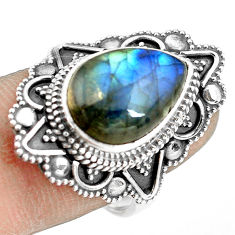 925 silver 6.48cts natural blue labradorite pear solitaire ring size 7.5 p77264