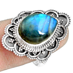 925 silver 6.48cts natural blue labradorite pear solitaire ring size 8.5 p77277