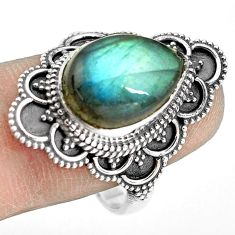 925 silver 6.62cts natural blue labradorite pear solitaire ring size 9.5 p77289