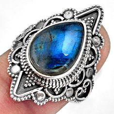 925 silver 6.70cts natural blue labradorite pear solitaire ring size 7.5 p88287