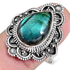 925 silver 6.48cts natural blue labradorite pear solitaire ring size 10 p92364