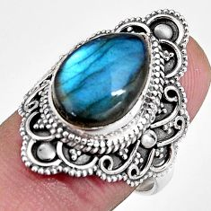 925 silver 6.48cts natural blue labradorite pear solitaire ring size 7.5 p92378