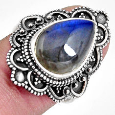 925 silver 6.50cts natural blue labradorite pear solitaire ring size 7.5 p92383