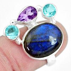 925 silver natural blue labradorite purple amethyst topaz ring size 6.5 p33000