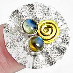 925 silver 1.96cts natural blue labradorite round 14k gold ring size 6.5 p45084