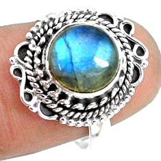 925 silver 4.63cts natural blue labradorite round solitaire ring size 7.5 p72356