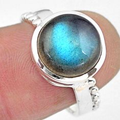 925 silver 5.10cts natural blue labradorite round solitaire ring size 6.5 p86793