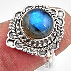 925 silver 4.67cts natural blue labradorite round solitaire ring size 6.5 p90944