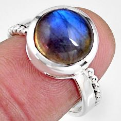 925 silver 5.38cts natural blue labradorite round solitaire ring size 6.5 p92324