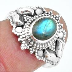 925 silver 2.09cts natural blue labradorite solitaire ring size 7.5 d32056