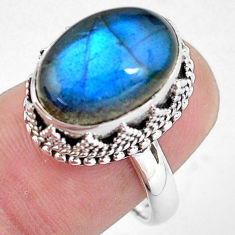 925 silver 7.10cts natural blue labradorite solitaire ring jewelry size 7 p56734