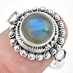 925 silver 5.12cts natural blue labradorite solitaire ring jewelry size 8 p57664