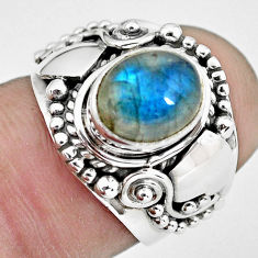 925 silver 2.93cts natural blue labradorite solitaire ring jewelry size 6 p57689