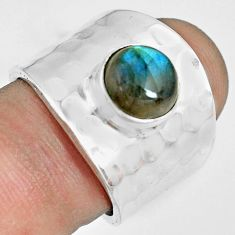 925 silver 3.41cts natural blue labradorite solitaire ring jewelry size 7 p70113
