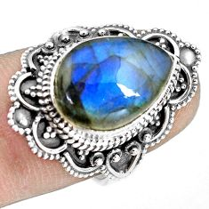 925 silver 6.58cts natural blue labradorite solitaire ring jewelry size 6 p77253