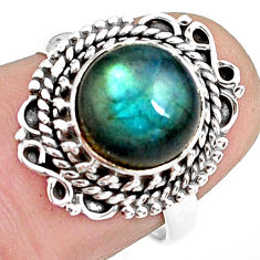 925 silver 4.82cts natural blue labradorite solitaire ring jewelry size 7 p78808