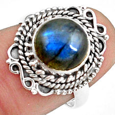 925 silver 4.82cts natural blue labradorite solitaire ring jewelry size 7 p78829