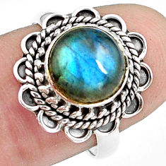925 silver 4.67cts natural blue labradorite solitaire ring jewelry size 8 p78836