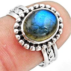 925 silver 4.43cts natural blue labradorite solitaire ring jewelry size 7 p81179