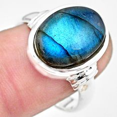 925 silver 6.63cts natural blue labradorite solitaire ring jewelry size 8 p86747