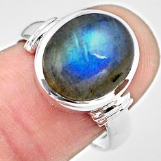 925 silver 5.30cts natural blue labradorite solitaire ring jewelry size 7 p86760