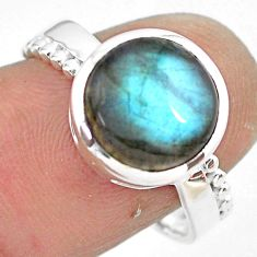 925 silver 5.24cts natural blue labradorite solitaire ring jewelry size 8 p86800