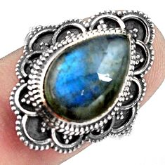 925 silver 6.58cts natural blue labradorite solitaire ring jewelry size 8 p88313
