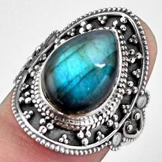 925 silver 6.48cts natural blue labradorite solitaire ring jewelry size 8 p88328