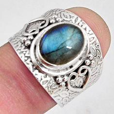 925 silver 4.38cts natural blue labradorite solitaire ring jewelry size 7 p89490
