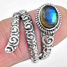 925 silver 2.20cts natural blue labradorite solitaire ring jewelry size 7 p89559