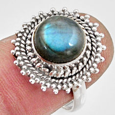 925 silver 4.92cts natural blue labradorite solitaire ring jewelry size 7 p90968