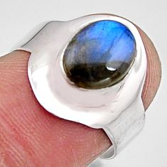 925 silver 3.29cts natural blue labradorite solitaire ring jewelry size 7 p90978